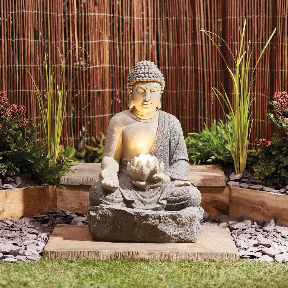 Serenity Buddha Garden Water Feature Fountain Led Self Contained 56cm Ornament 5017730353073 Ebay Buddha Garden Japanese Garden Design Zen Garden Diy