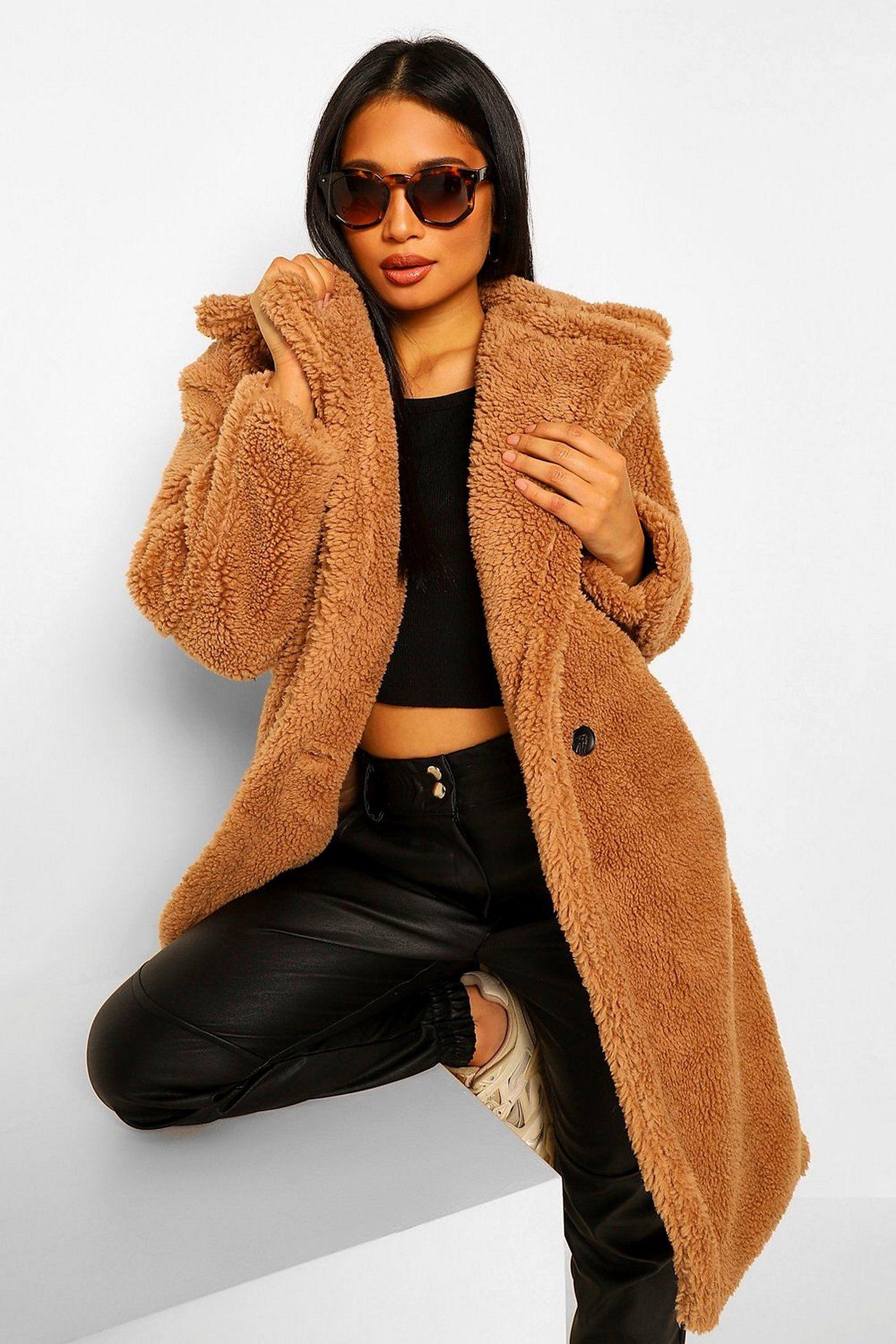 Petite Teddy Faux Fur Pocket Detail Maxi Coat Boohoo Maxi Coat Brown Coat Outfit Cute Winter Outfits [ 2181 x 1454 Pixel ]