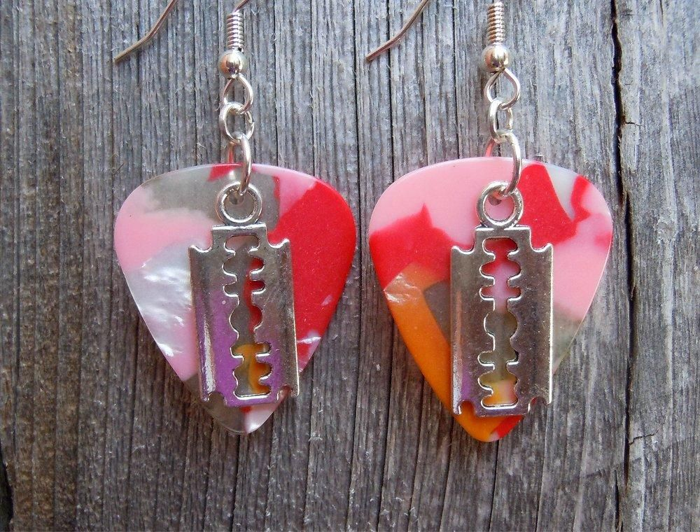 Razor Blade Charm Guitar Pick Earrings - Pick Your Color
