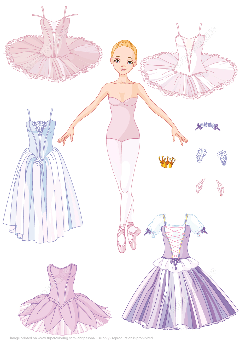 Paper Doll Of A Girl Ballet Dancer With Different Costumes Super Coloring Paper Dolls Clothing Barbie Paper Dolls Paper Doll Costume