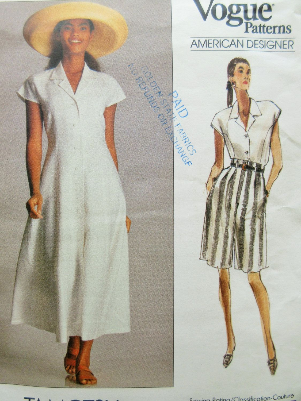 Vintage Vogue 2300 Sewing Pattern Tamotsu Dress Designer Pattern Bust 30 5 32 5 Shorts Pattern 1980s Vintage Vogue Vogue Patterns Dress Sewing Patterns