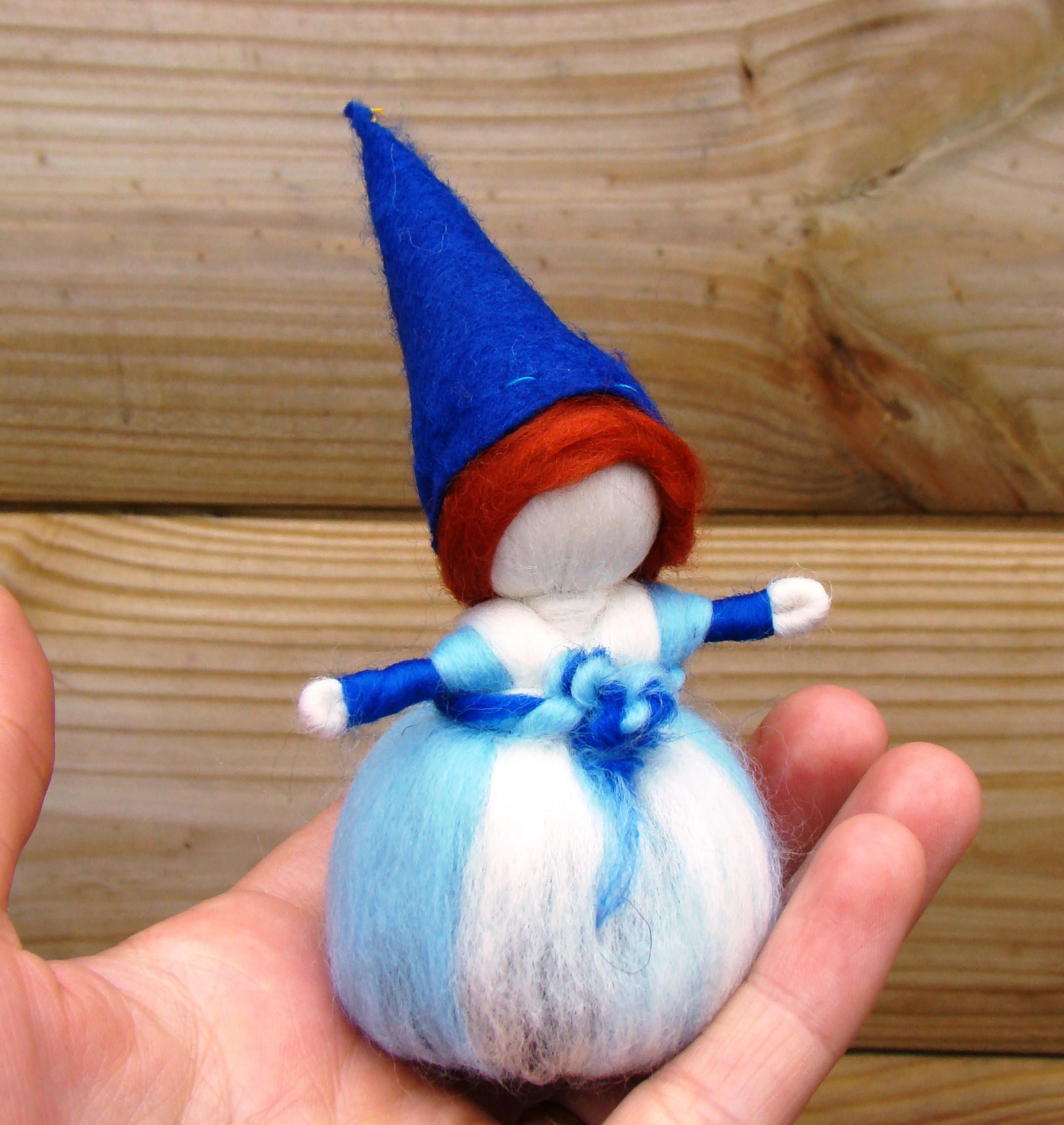 Winter nature table - Christmas Gnome Winter Nature Table Waldorf Story Doll King Winter Elf Steiner Gnome Christmas Stocking Stuffer Elf Blue Wool Pixie Uk