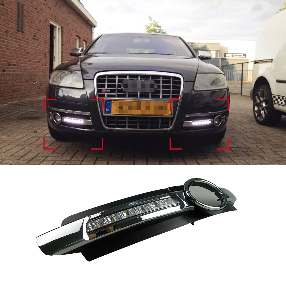 car drl kit for audi a6 l c6 2005 2008 led daytime running light bar super bright auto fog lamp daylight for car led drl light [ 1000 x 1000 Pixel ]