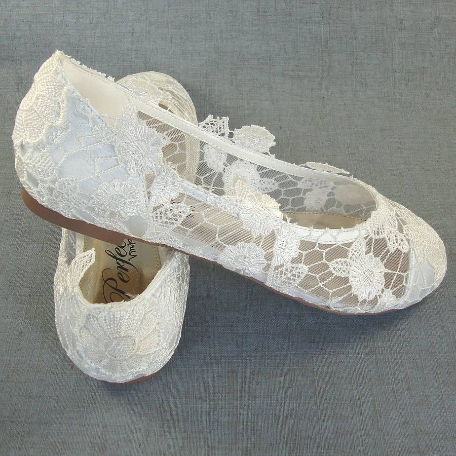 flat lace bridal shoes - photo #19