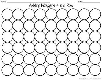 Adding Integers Game by To the Square Inch- Kate Bing