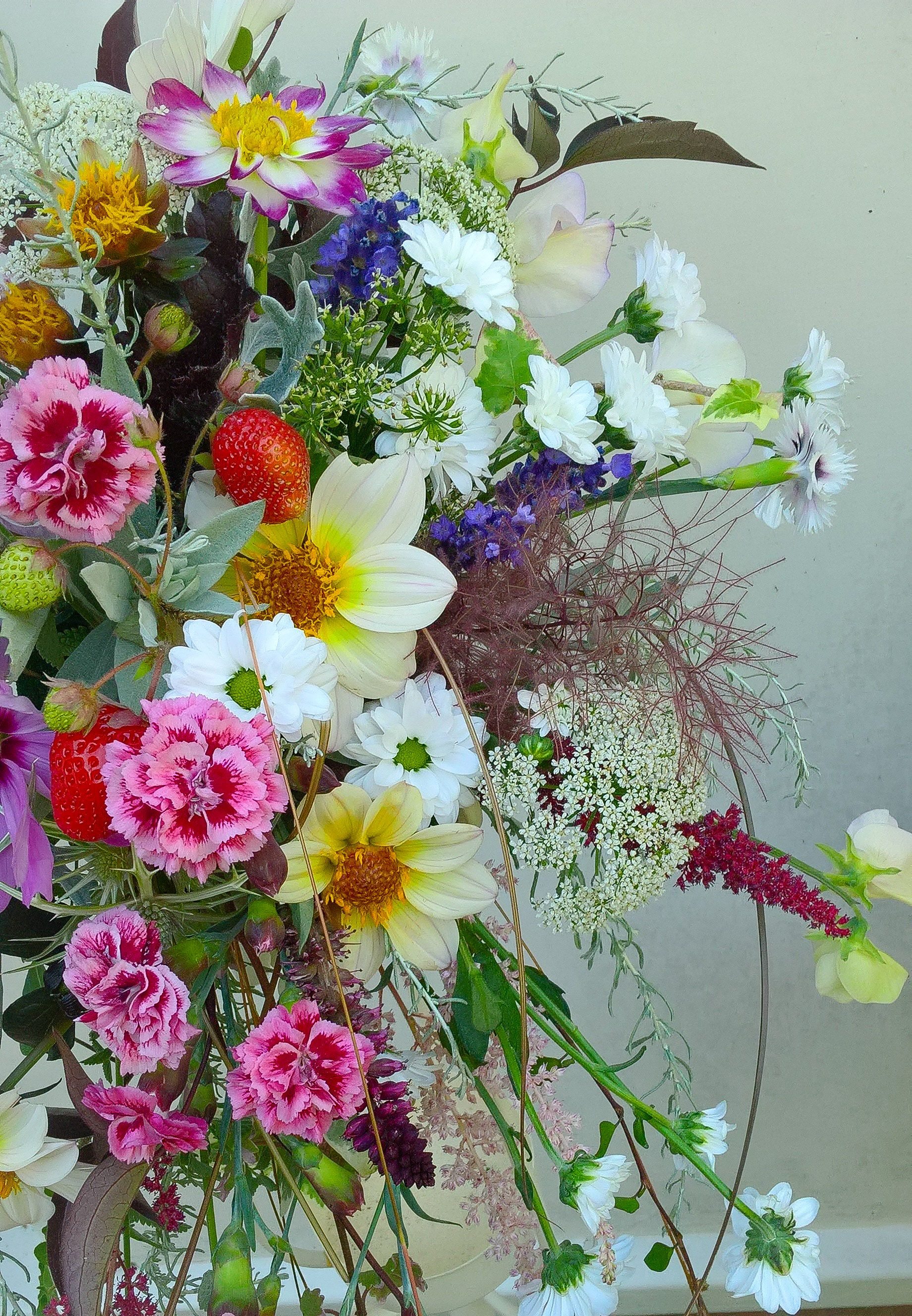 Summer Uk Bouquet Of Dahlias Herbs Cowparsley And Garden Fresh Flowers For Further Details Please Contact Flowers Wedding Flowers Fresh Flowers