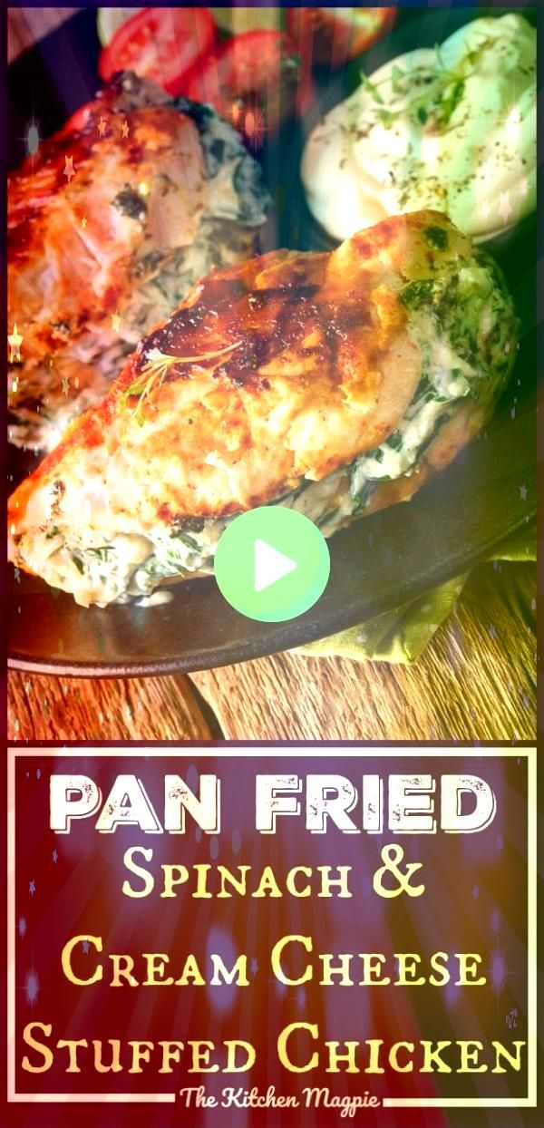 This Spinach  Cream Cheese Stuffed Pan Fried Chicken Breasts recipe is a delicious low carbKeto chicken recipe that makes low carb eating easyThis Spinach  Cream Cheese S...