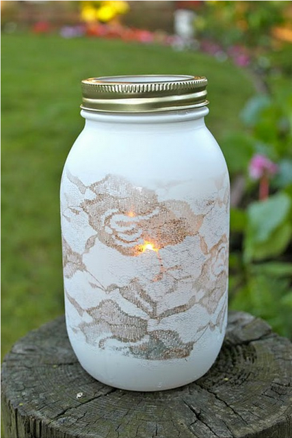 lace painted mason jars