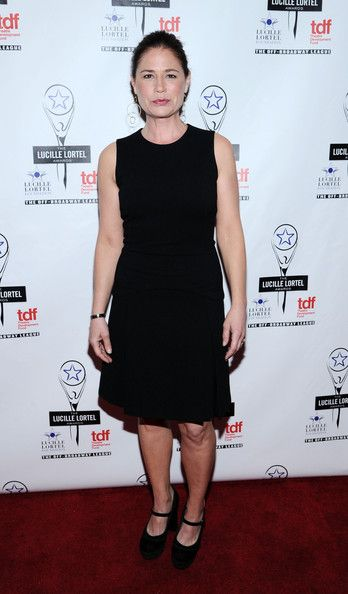 Maura Tierney Platform Pumps - Maura Tierney completed her classic look with a pair of black platform Mary Janes.