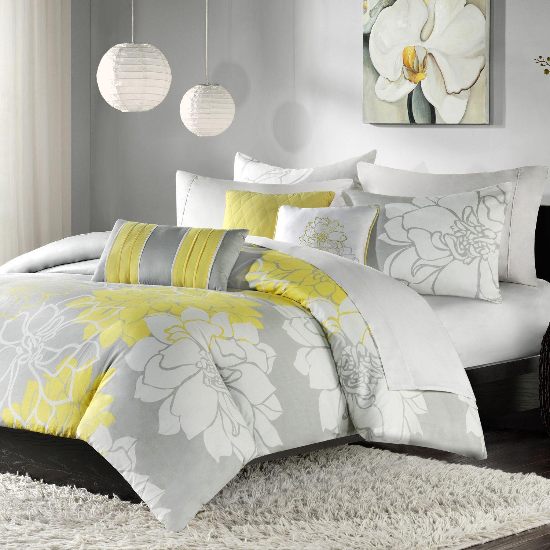 Madison Park Brianna Yellow 6 Piece Printed Duvet Cover Set Grey