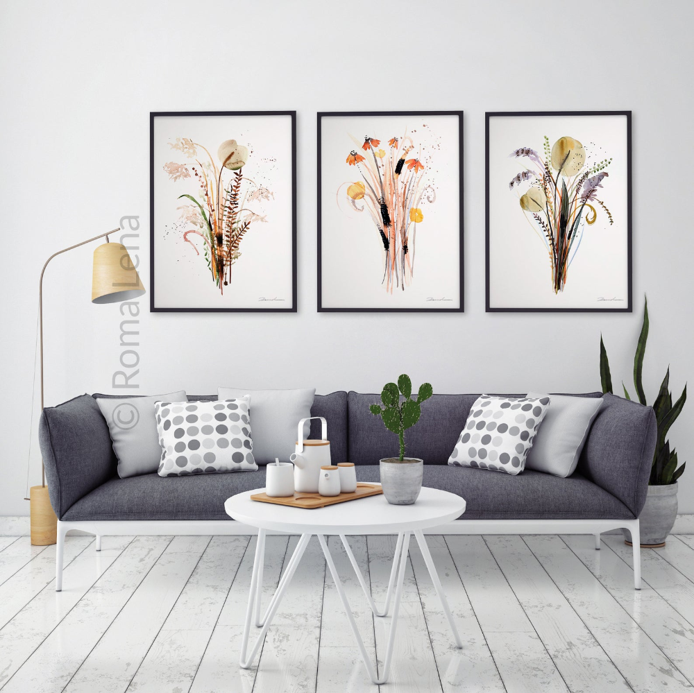 Wildflower Bouqet watercolor paintings, set 3 gift idea in