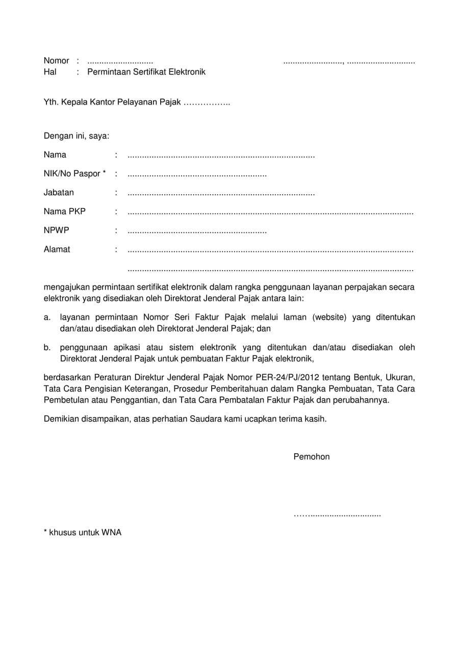 Contoh Surat Permintaan Nomor Faktur Pajak Contoh Lif Co Id