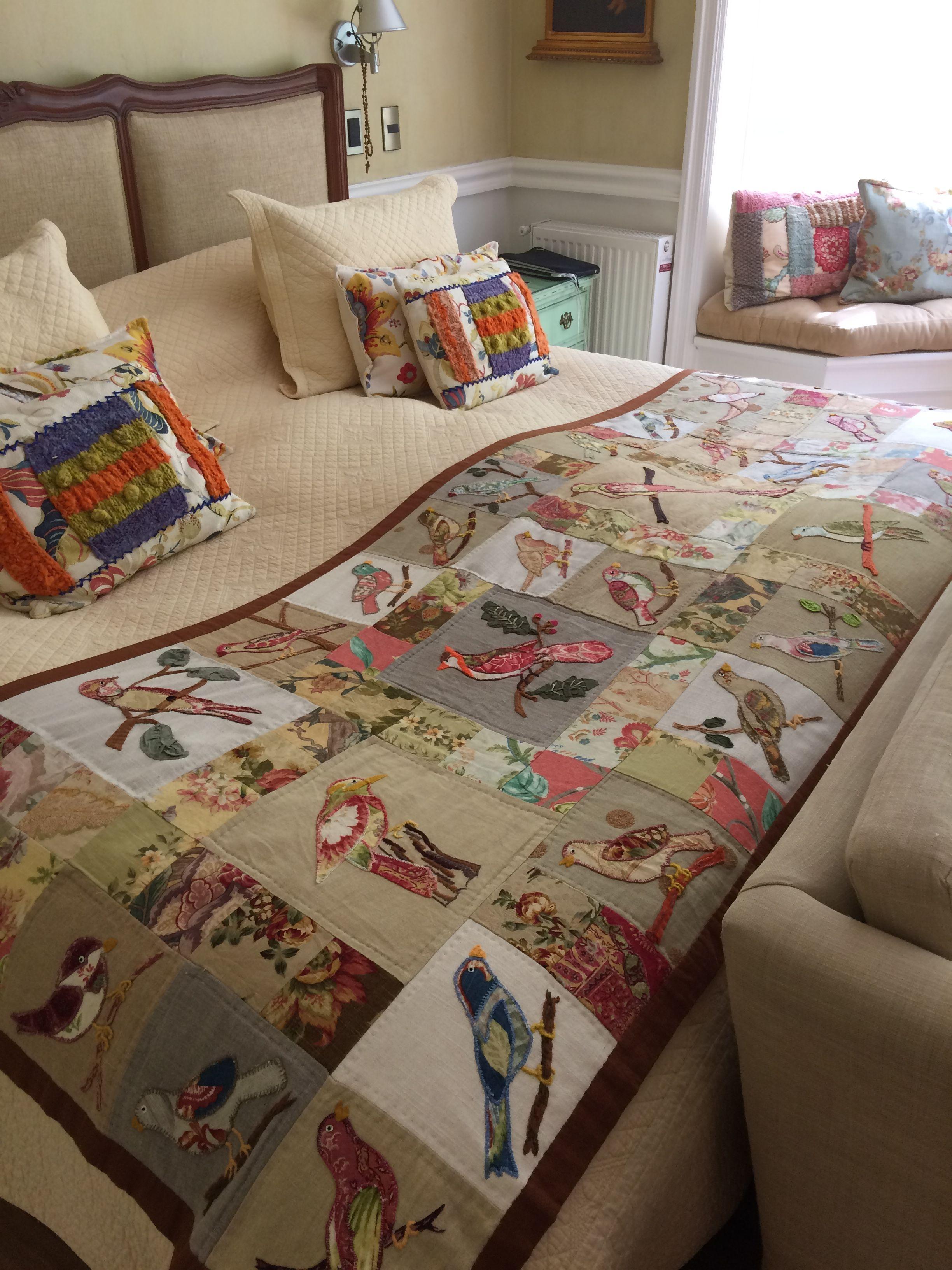Piecera patchwork en aplicaciones de p jaros con linos for Cobertor para sofa