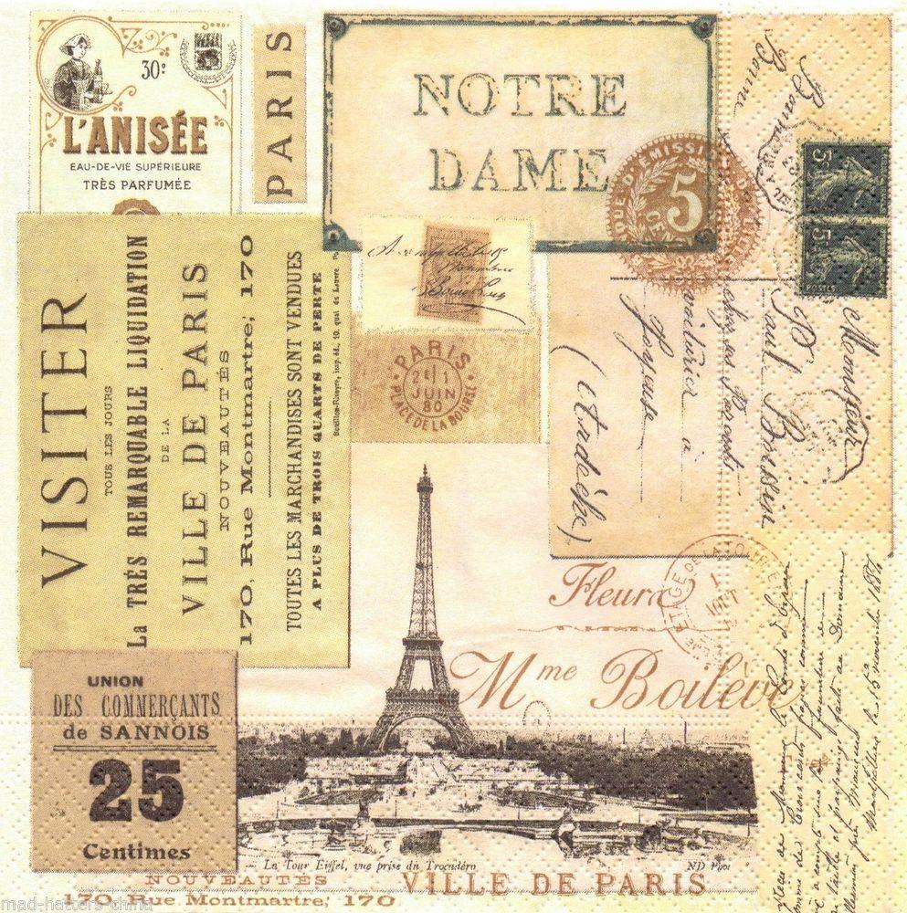 travel letters design 4 Single paper decoupage napkins.Paris voyage -307