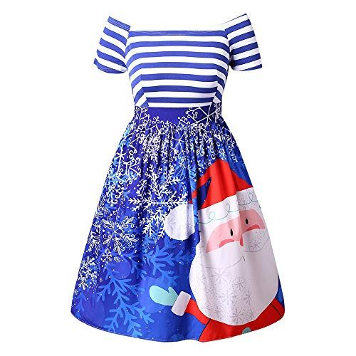 2724f30c86d Women s Patchwork Puffy Swing Casual Party Dress AmyDong Santa Claus  Striped Printed Evening Prom Costume(Blue