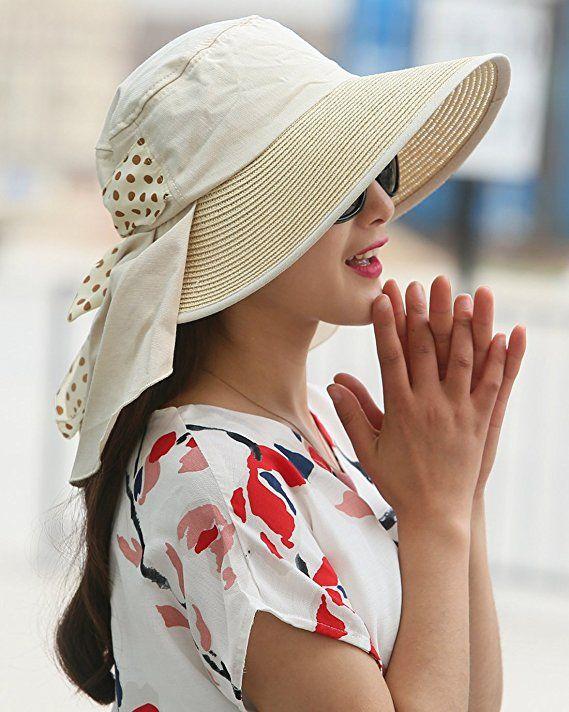32c7f341c3d35 UV Sun hats women summer hats Sun (Beige) at Amazon Women s Clothing store