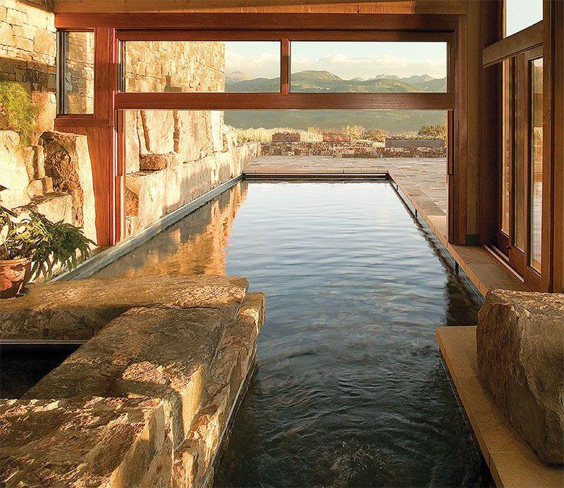 Luxurious Mountain Home In Colorado With Indoor Outdoor Pool If It S Hip It S Here Indoor Outdoor Pool Swimming Pool Designs Outdoor Pool