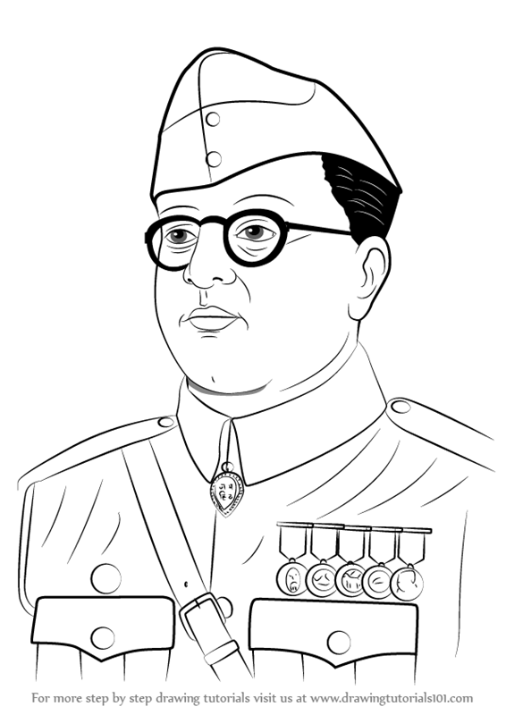 Learn How To Draw Subhash Chandra Bose Famous People Step By Step Drawing Tutorials Army Drawing Easy Drawings Sketches Independence Day Drawing