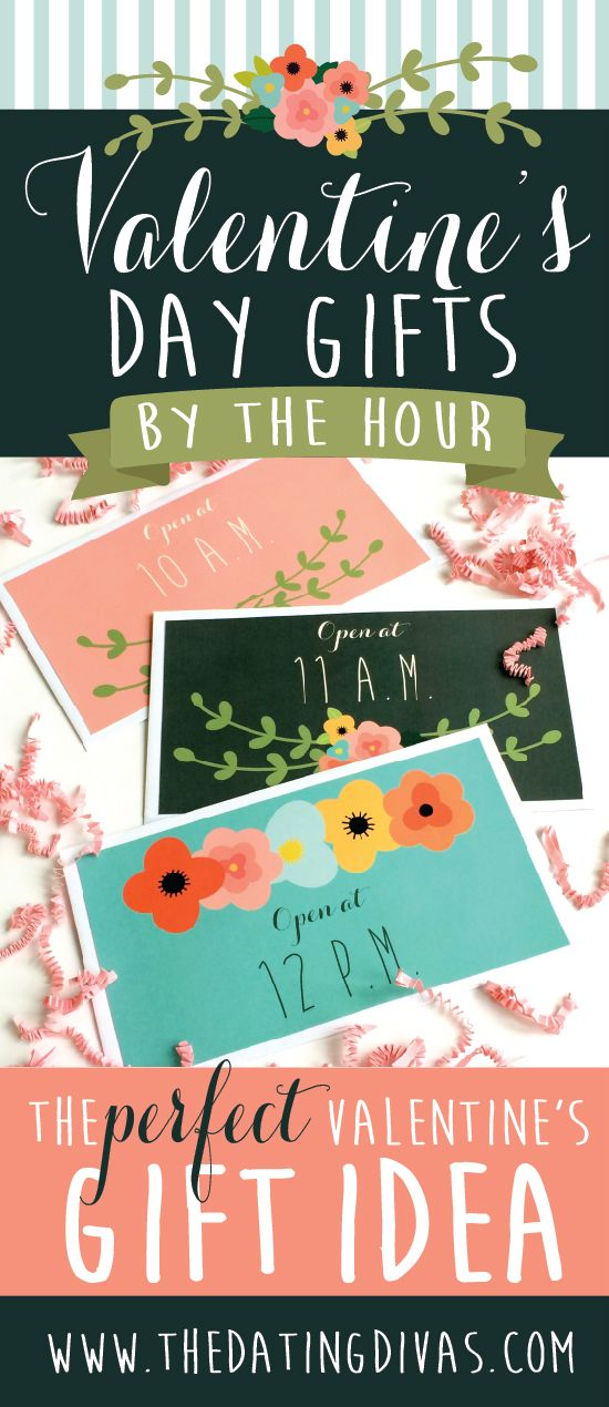 Valentine's Day Gifts by the Hour with free printables! How cute is this?! Hubby is going to be so surprised this year! www.TheDatingDivas.com