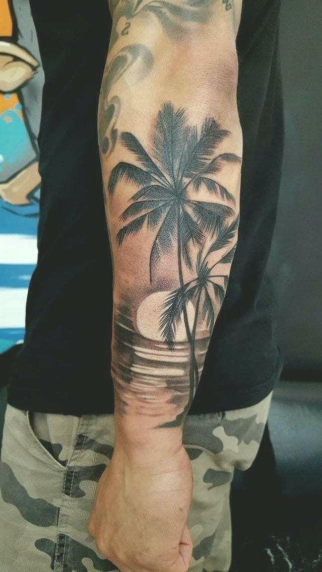 Palm, Strand, Sonne, - - #tattooideen - #Palm #Sonne #