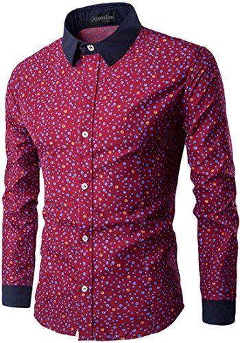 a86e959bc697 jeansian Men s Fashion Circle Printing Long-Sleeved Shirt... https