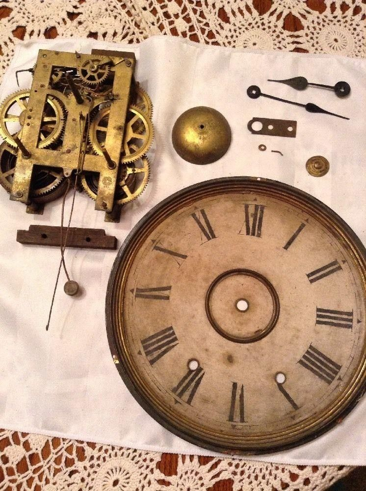 vintage mixed lot clock parts 8 pieces  u2022 very old new
