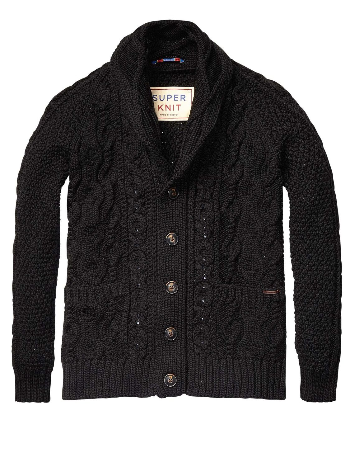 Heavy Cable Knitted Cardigan Mens Clothing Pullovers at Scotch ...