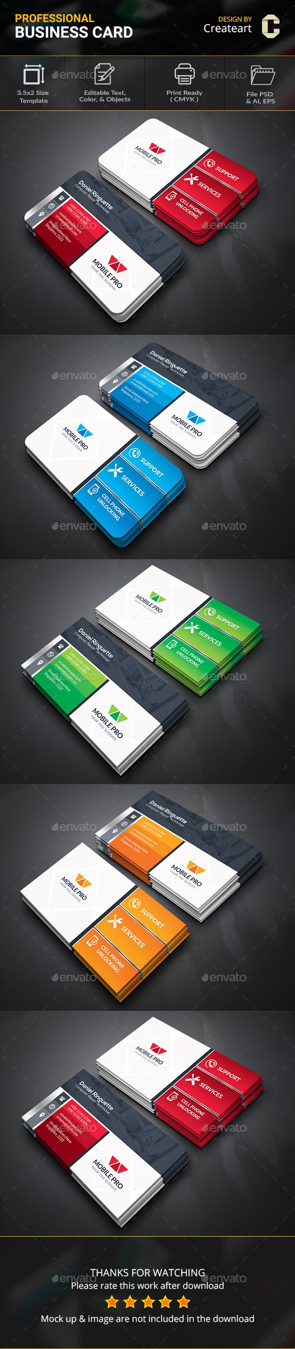 Mobile Repair Service Business Card Template Psd Business Card