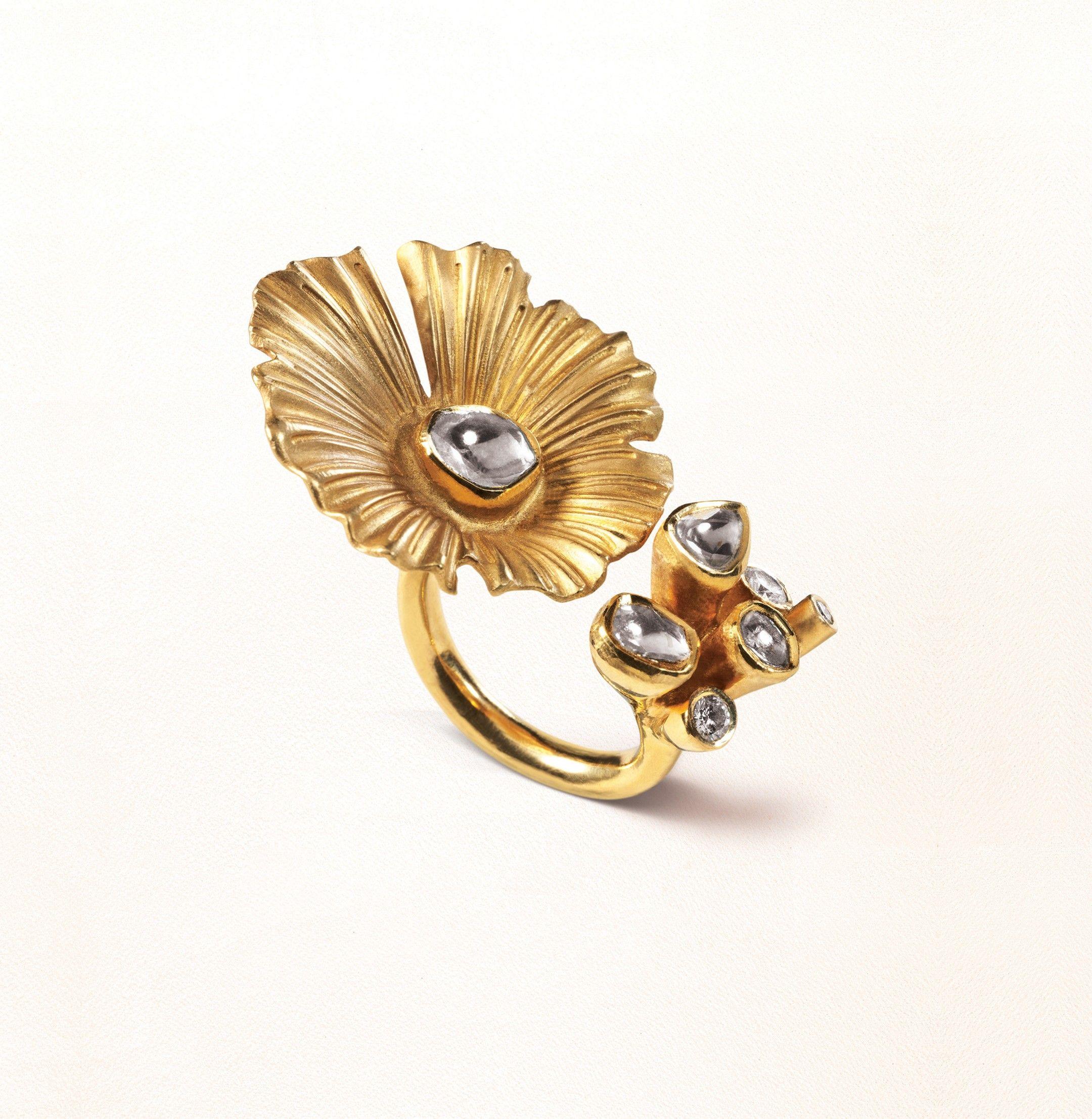 Zoya yellow gold lotus ring with polki diamonds.