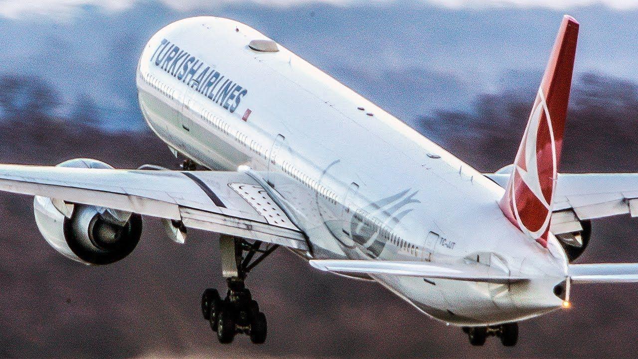 BOEING 777 super closeup LANDING and DEPARTURE (4K) Uçak