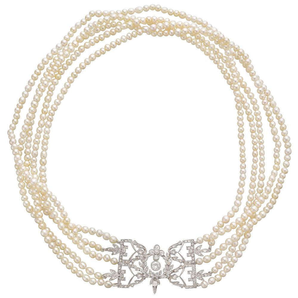 Antique 5 strand natural pearl necklace with diamond clasp 5 strand antique 5 strand natural pearl necklace with diamond clasp 5 strand natural pearl choker aloadofball Choice Image