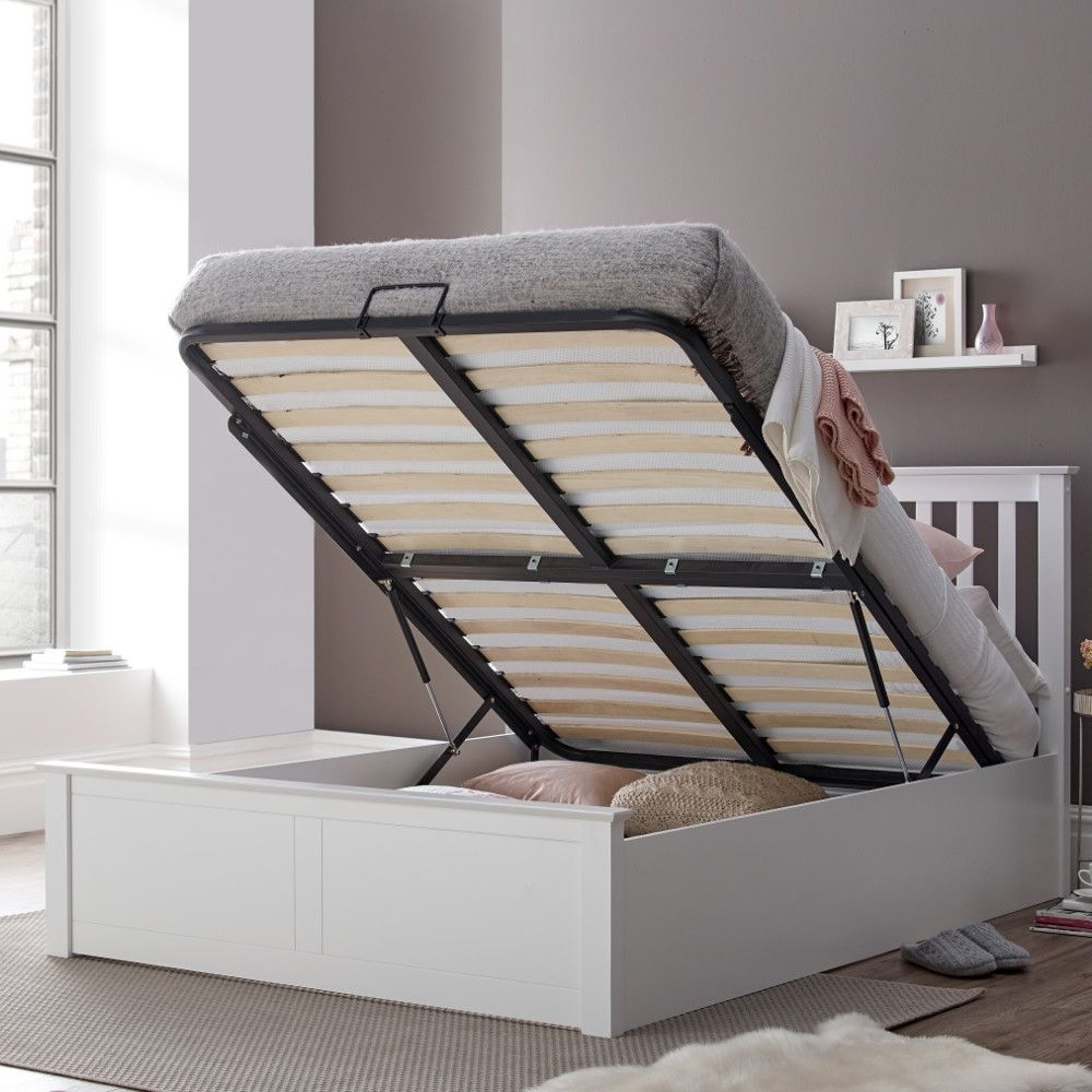 Malmo White Wooden Ottoman Bed Frame 5ft King Size Bed Designs