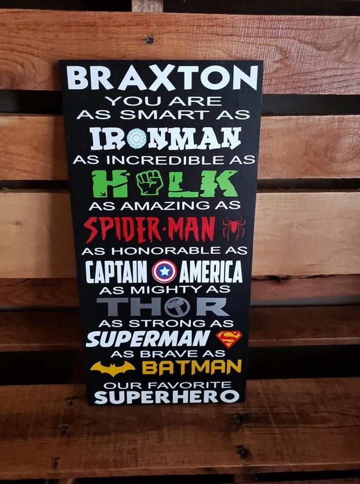 Superhero Sign, FREE SHIPPING, Boys bedroom sign, Girls Bedroom sign, Ironman, Hulk, Spider-Man, Captain America, Superman, Batman