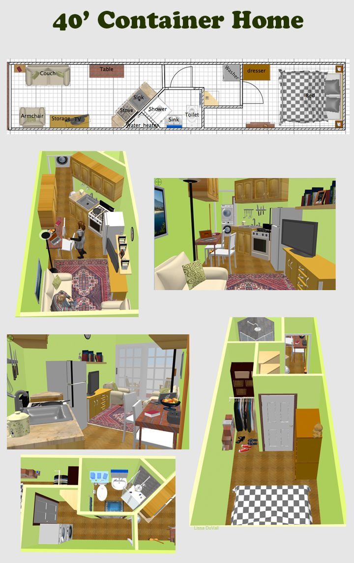 A very space efficient floor plan for a container home - Space efficient floor plans ...