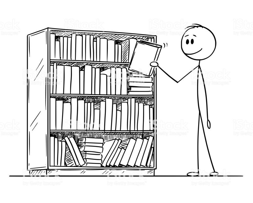 Bookcase Cartoon Black And White Bookshelf Art Stick Figure Drawing Conceptual Illustration
