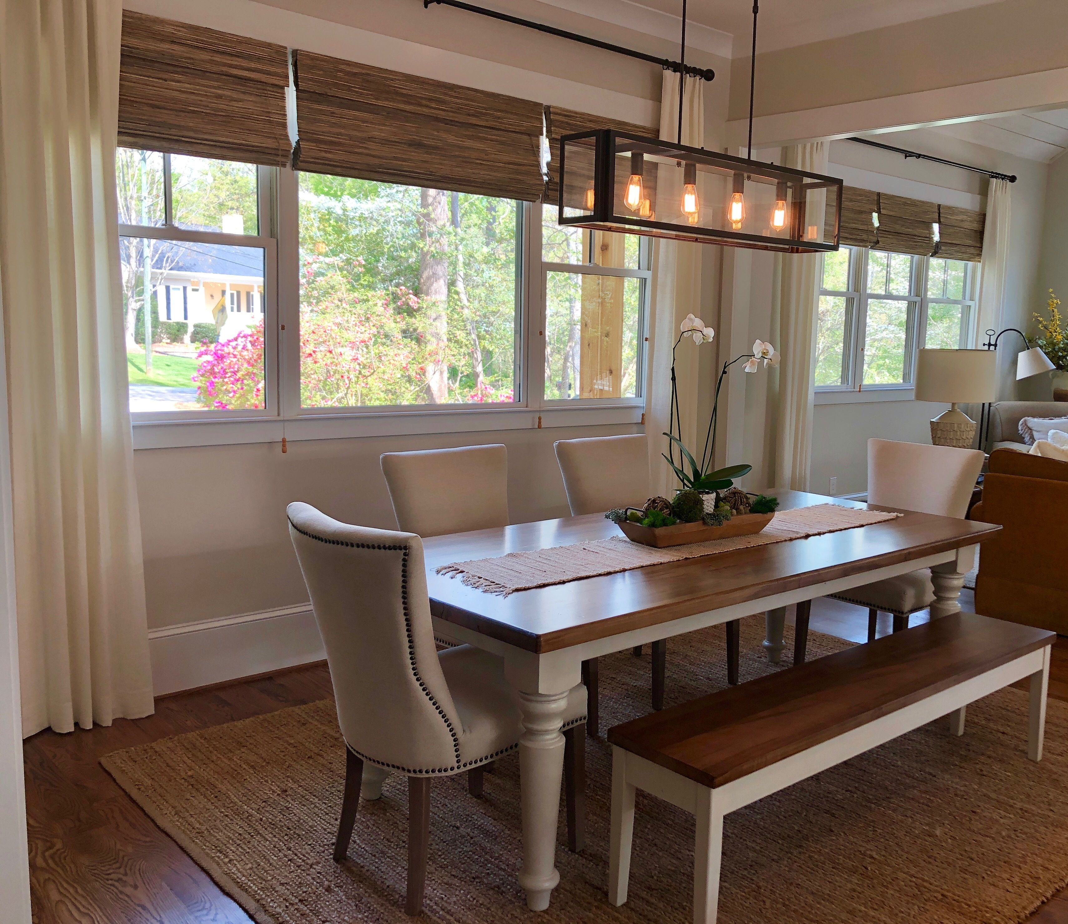 Beautiful farmhouse dining table bench and chairs woven