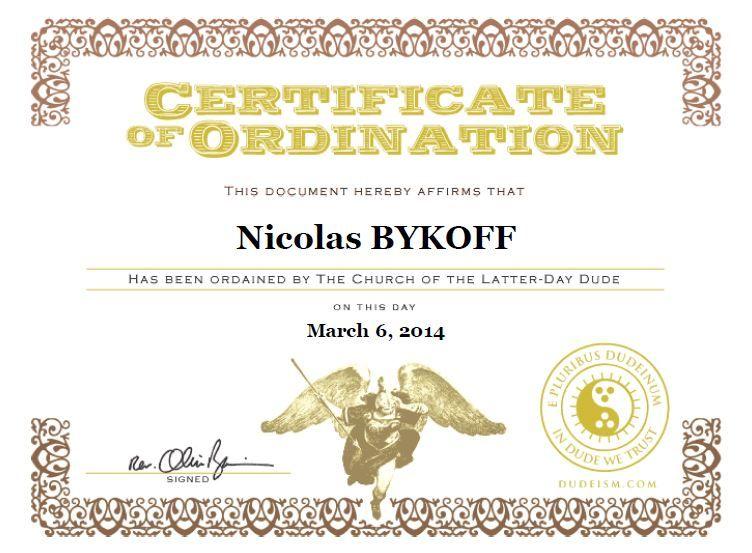 dudeism #priest certificate of ordination Dudeism Pinterest - best of ordination certificate free