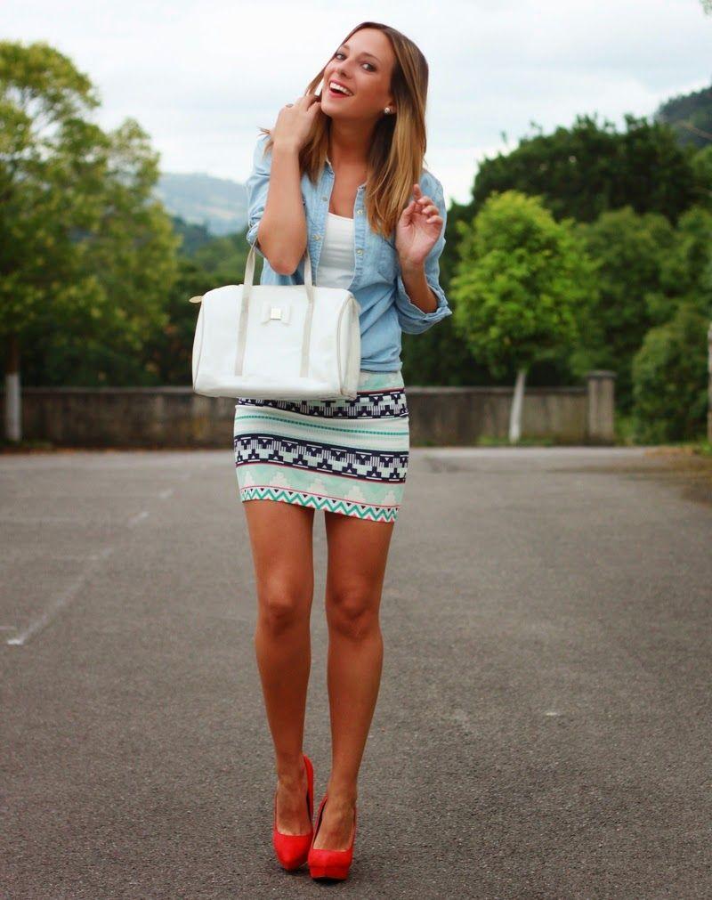 Con And Shoes Looks Camisa Étnica Falda Vaquera vw5p5X