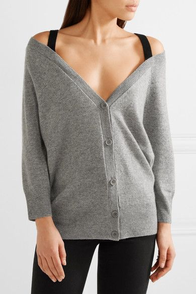Gray Saline B off the shoulder cashmere cardigan | Theory