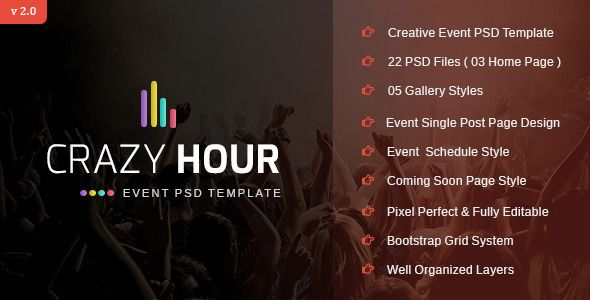 Crazy Hour - Event Management PSD Template  Crazy Hour is the - event schedule template