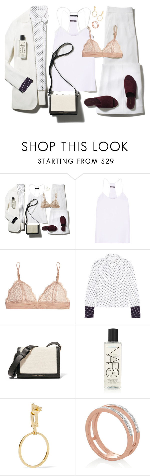 """THE LOOK: Silky separates"" by lidia-solymosi ❤ liked on Polyvore featuring TIBI, STELLA McCARTNEY, J.W. Anderson, Victoria Beckham, NARS Cosmetics, Maria Black and Monica Vinader"