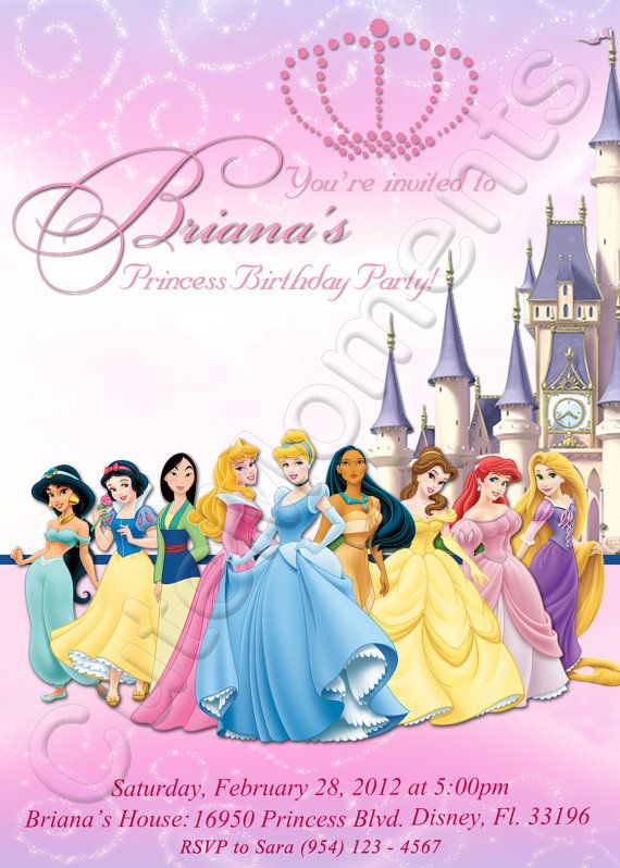 Disney Princess Personalized Digital Invitation