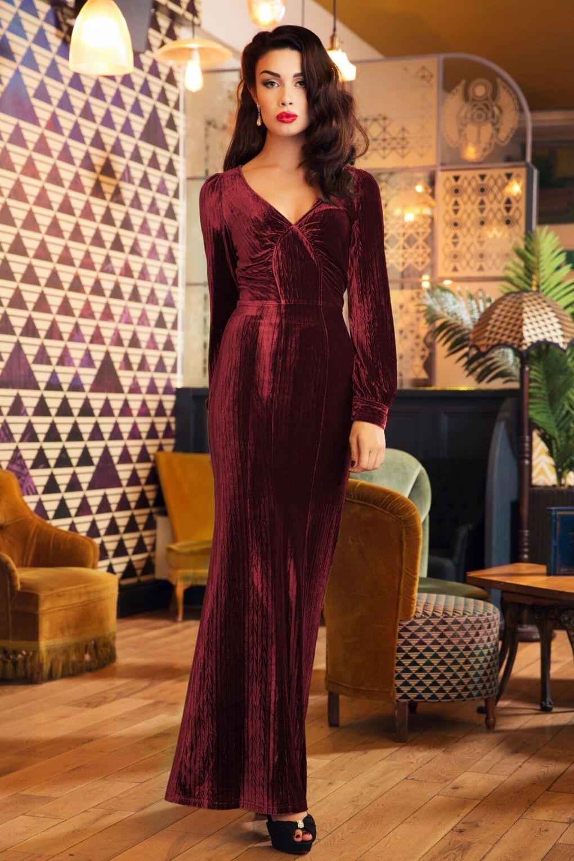 Maxi In Burgundy Kleider 30s Velvet 2019Magic Olivia Dress 8wvnm0N