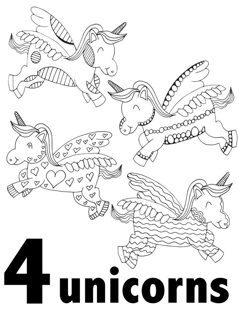 Unicorn Numbers 1 10 Free Printable Pages For Preschool Kindergarten Stevie Doodle Kindergarten Coloring Pages Free Coloring Pages Free Kids Coloring Pages
