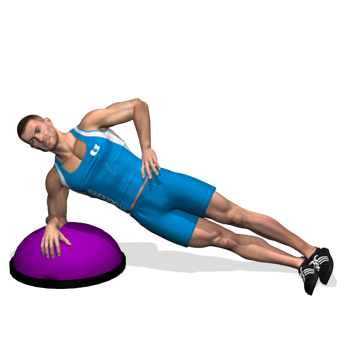 This is a strength exercise for the side muscles of the abdomen (oblique muscle) and it involves also the rectus abdominis to hold the position. Control better the abdominal area because BOSU creates instability.