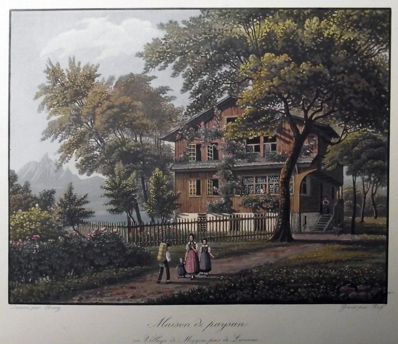 1840 VILLAGE de MEGGEN pres de LUCERNE - Ruf nach Burg gr. kol. Aquatinta