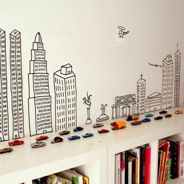 Wandbemalung Kinderzimmer Stadt Inspiration Wandgestaltung