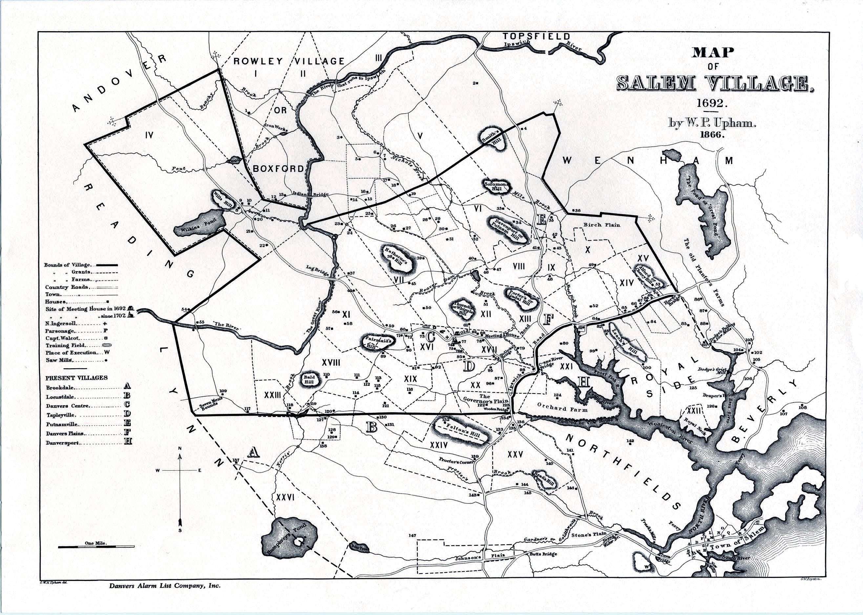 salem witch trials map Map Of Salem Village C 1692 Witch Trials Salem Witch Salem salem witch trials map