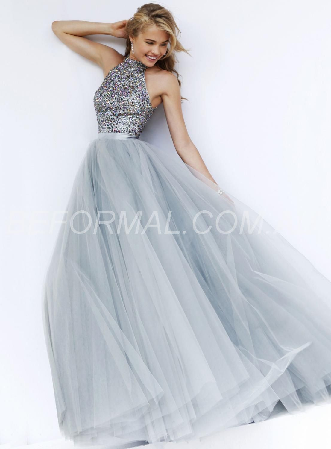 Beformal.com.au SUPPLIES Gorgeous High Neck A-line Beading Tulle ...