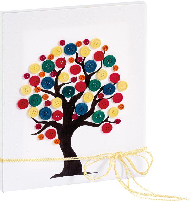 Gut Malen Sie Auf Eine Leinwand Eine Baumsilhouette Und Kleben Sie Bunte Knöpfe  Als Blätter Auf